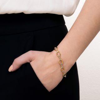 Vintage Rose-Cut Diamond Oval Link Bracelet