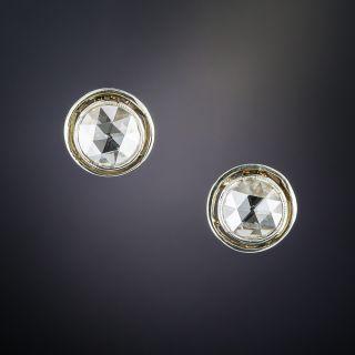 Vintage Rose-Cut Diamond Stud Earrings - 1