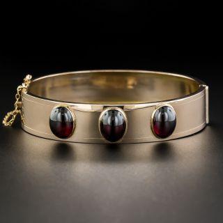 Vintage Rose Gold Cabochon Garnet Bangle Bracelet
