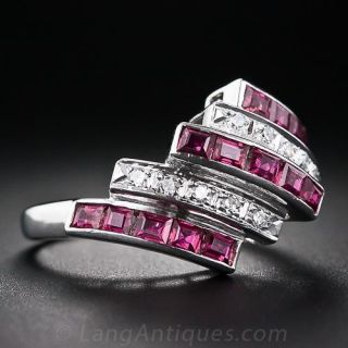 Vintage Ruby and Diamond Barber Pole Ring