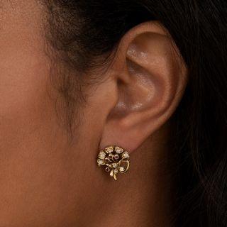 Vintage Ruby and Diamond Flower Bouquet Earrings