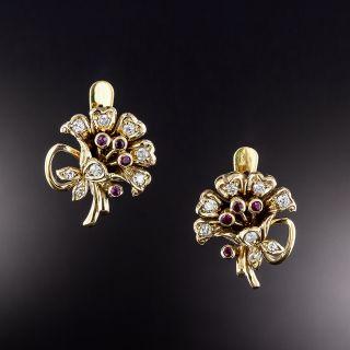 Vintage Ruby and Diamond Flower Bouquet Earrings - 1