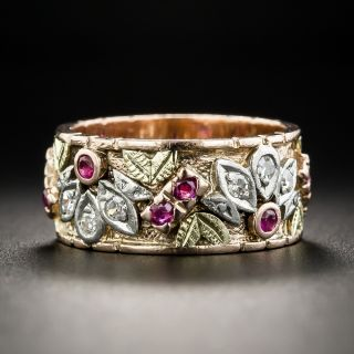 Vintage Ruby and Diamond Wedding Band - Size 7