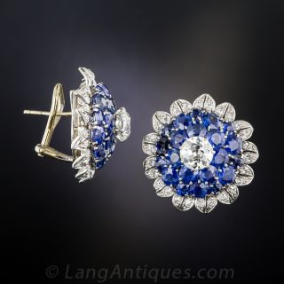 Vintage Sapphire and Diamond Bombe' Earclips