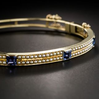 Vintage Sapphire and Seed Pearl Bangle Bracelet - 1
