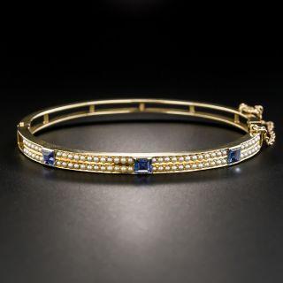 Vintage Sapphire and Seed Pearl Bangle Bracelet