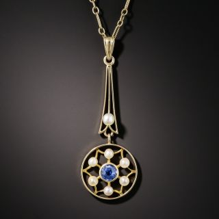 Vintage Sapphire and Seed Pearl Drop
