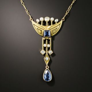Vintage Sapphire Diamond and Pearl Necklace  - 2