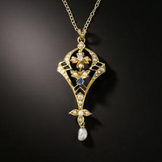 Vintage Sapphire, Diamond and Seed Pearl Pendant - 2
