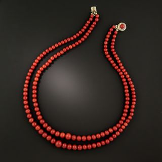 Vintage Sardinian Coral Double Strand Necklace - 2