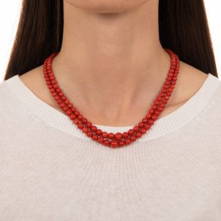 Vintage Sardinian Coral Double Strand Necklace
