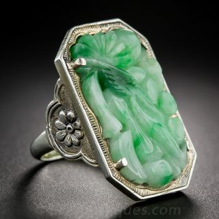 Vintage Silver and Carved Jade Ring
