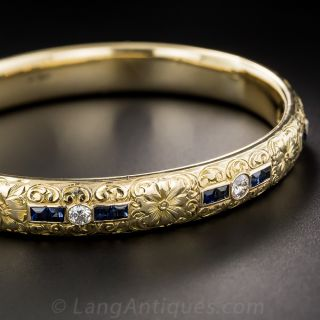 Vintage Sloan & Co. Sapphire Diamond Bangle Bracelet