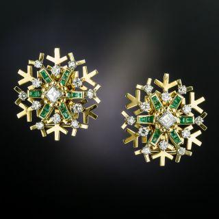 Vintage Snowflake Emerald and Diamond Earrings - 3
