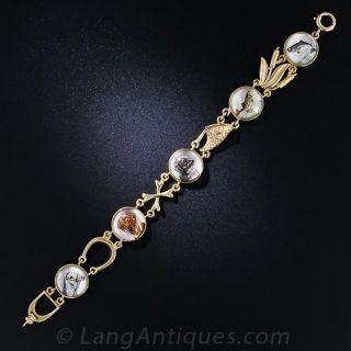 Vintage Sporting Life Reverse Intaglio Bracelet - 1