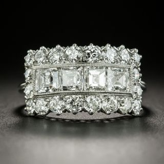 Vintage Square-Cut Diamond Wide Band Ring - 2