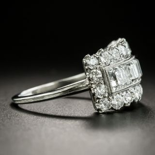 Vintage Square-Cut Diamond Wide Band Ring