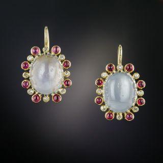 Vintage Star Sapphire, Diamond and Ruby Earrings - 3