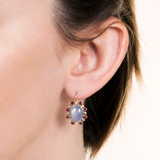 Vintage Star Sapphire, Diamond and Ruby Earrings