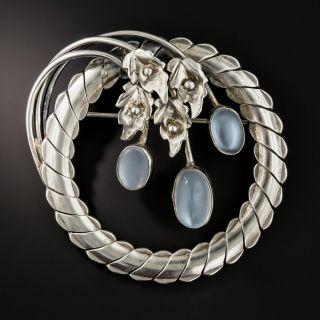 Vintage Sterling Silver Moonstone Brooch - 2