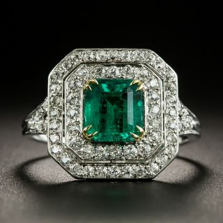 Vintage Style 1.24 Carat Emerald and Diamond Ring - 1