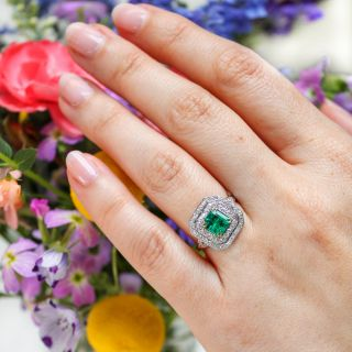 Vintage Style 1.05 Carat Emerald and Diamond Ring