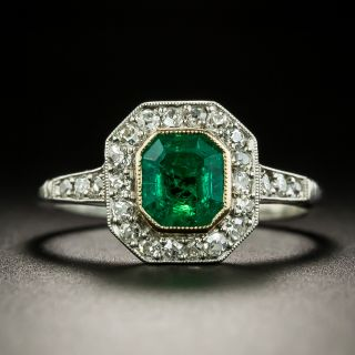 Vintage Style 1.27 Carat Emerald and Diamond Ring - 3