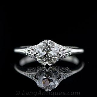 Vintage Style 1.39 Antique Carat Cushion Cut Diamond Engagement Ring