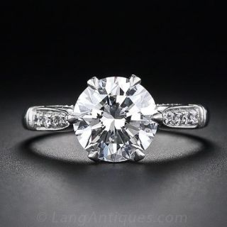 Vintage Style 2.40 Carat Diamond Platinum Solitaire Engagement Ring - GIA G VS1 - 1