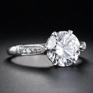 Vintage Style 2.40 Carat Diamond Platinum Solitaire Engagement Ring - GIA G VS1