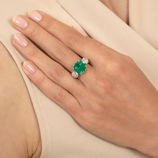 Vintage Style 4.07 Carat Colombian Emerald and Diamond Ring - GIA F1