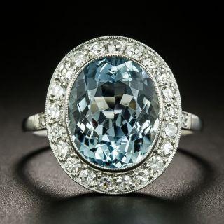 Vintage Style 4.50 Carat Aquamarine and Diamond Halo Ring - 3