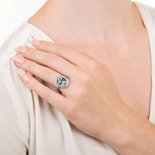 Vintage Style 4.50 Carat Aquamarine and Diamond Halo Ring