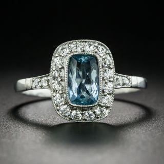 Vintage Style .65 Carat Aquamarine and Diamond Ring - 2