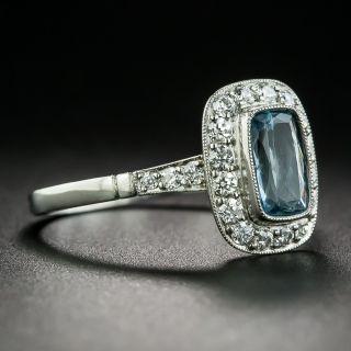Vintage Style .65 Carat Aquamarine and Diamond Ring