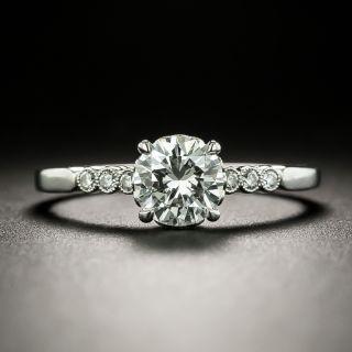 Vintage Style .78 Carat Diamond Platinum Engagement Ring