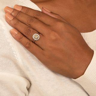 Vintage Style .80 Carat Center Yellow Diamond Engagement Ring