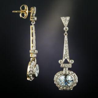 Vintage Style Aquamarine Diamond Drop Earrings