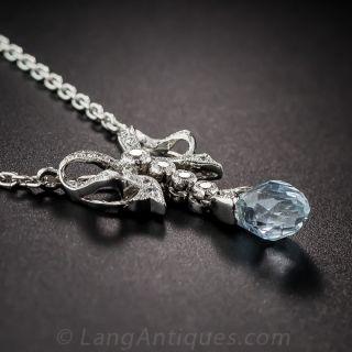 Vintage Style Aquamarine, Platinum and Diamond Pendant