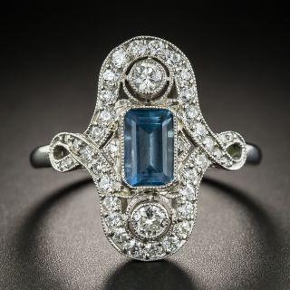 Art Deco Style Aquamarine Platinum Diamond Dinner Ring - 2
