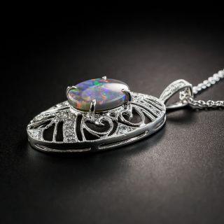 Vintage Style Black Opal Diamond Platinum Pendant