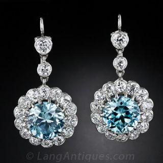 Antique Style Blue Zircon and Diamond Earrings - 1