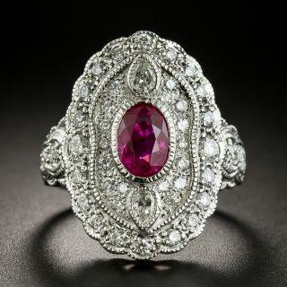 Vintage Style Burmese Ruby and Diamond Dinner Ring - 3