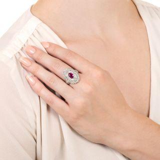 Art Deco Style Burmese Ruby and Diamond Dinner Ring