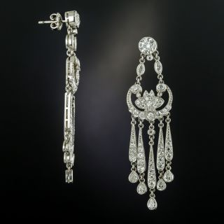 Vintage Style Chandelier Diamond Earrings - 2