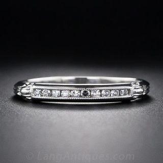 Vintage Style Channel Set Diamond Wedding Band - 1