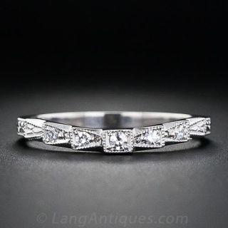 Vintage Style Contoured Diamond Wedding Band - 1