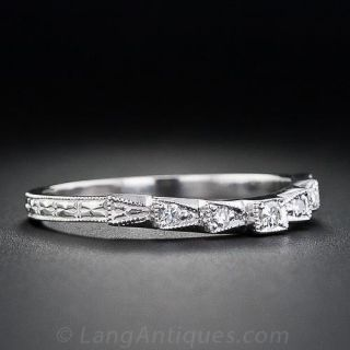Vintage Style Contoured Diamond Wedding Band