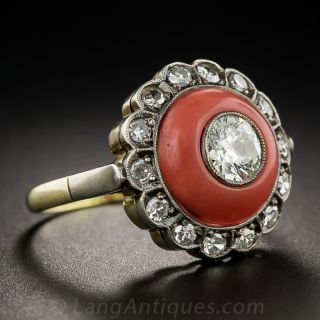 Vintage Style Coral and Diamond Dome Ring