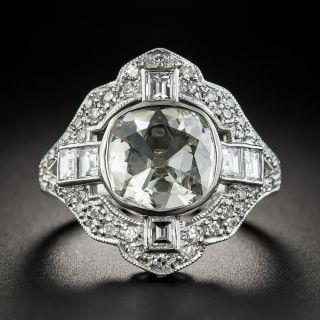 Vintage Style Cushion-Cut Diamond Platinum Ring